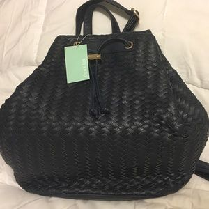 NWT Navy Woven Backpack